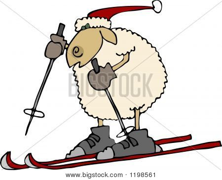 this illustration depicts a sheep on skis. poster