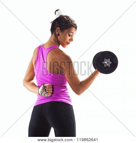 Woman exercising with a dumbbell weight