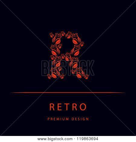 Letter R From Roses. Monogram Design Elements, Graceful Template. Elegant Line Art Logo Design. Embl