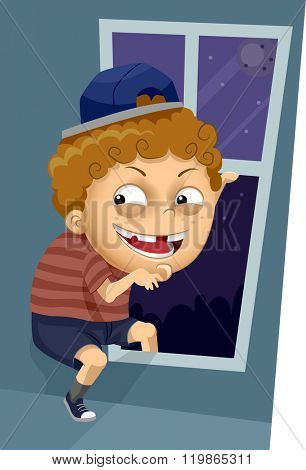 Illustration of a Kid Boy Trying to Sneak Out Through the Window