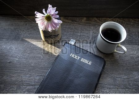 Morning Coffee With Bible Illuminated By Sunlight