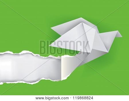 Origami Bird Ripping Green Paper