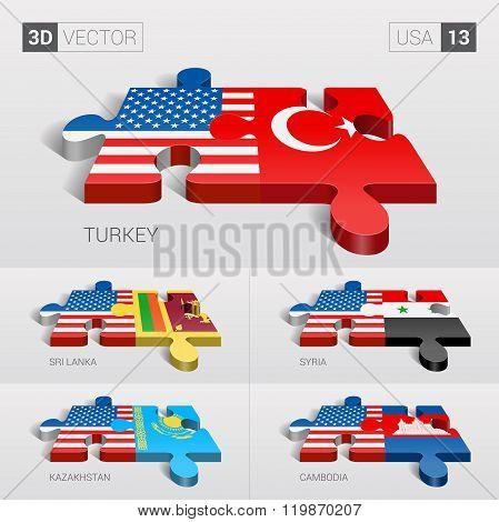 USA Flag. 3d vector puzzle. Set  .
