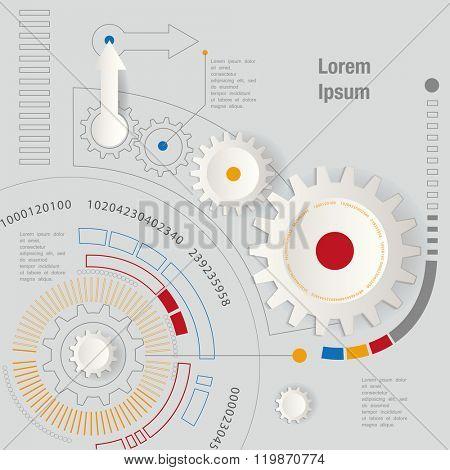 machine technology gears. retro gearwheel mechanism abstract background