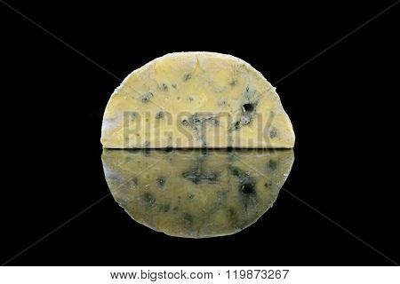 Be Reflective Blue Cheese On Black Background