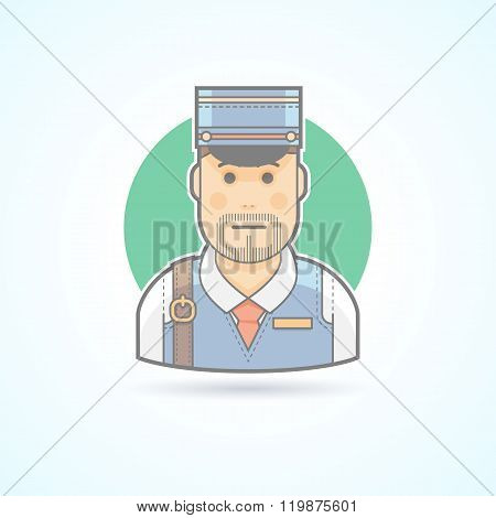 Postman, mailman, delivery man icon. Avatar and person illustration. Flat colored outlined style.