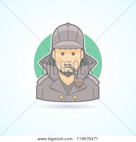 Detective, Sherlock Holmes, snoop icon. Avatar and person illustration. Flat colored outlined style.
