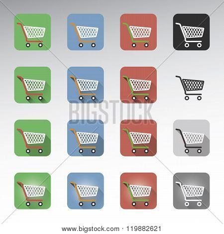 Shopping cart icons set