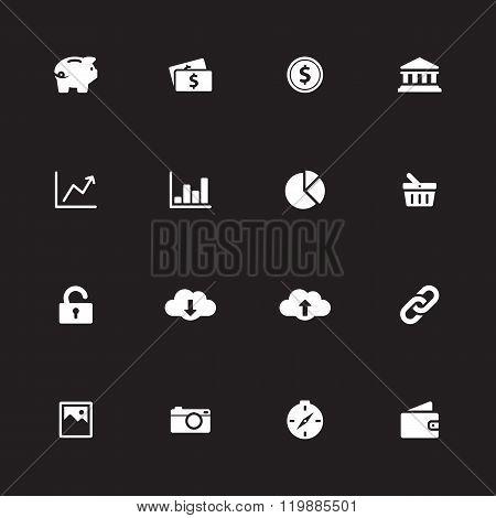 White Simple Flat Icon Set 4