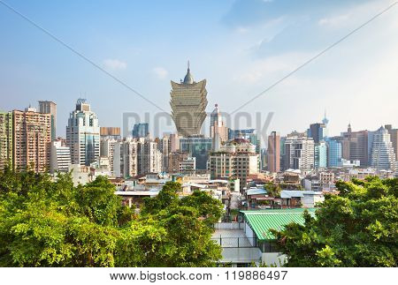 Macao Downtown Cityscape Skyline View