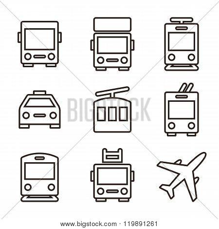 Public Transport Icons Isolated On White Background
