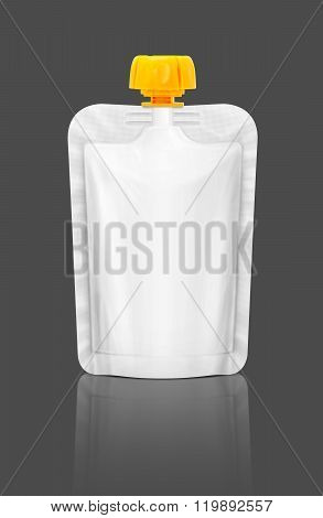 Blank Packaging Squeeze Pouch Isolated On Gray Background