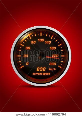 Isolated Speedometer Shows Current Speed Of 232 Kilometers An Hour On A red Background