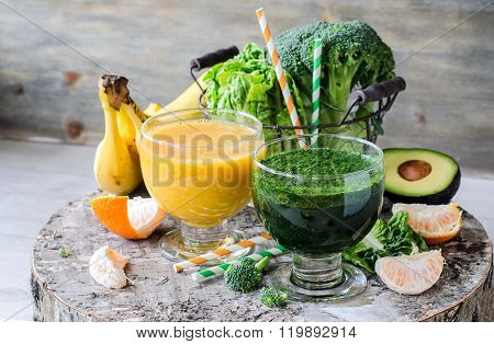 Green And Yellow Smoothie With Avocado, Bananas And Broccoli