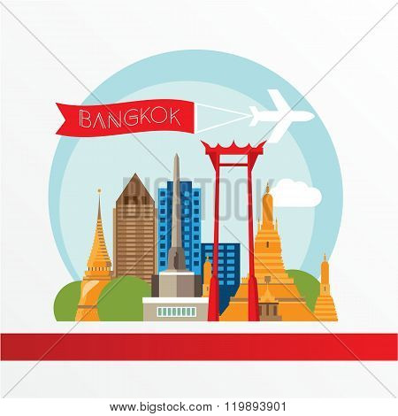 Bangkok detailed silhouette. Trendy vector illustration, flat style. Stylish colorful  landmarks. The concept for a web banner.  Wat Arun and the Giant Swing - The symbol of Bangkok Thailand.