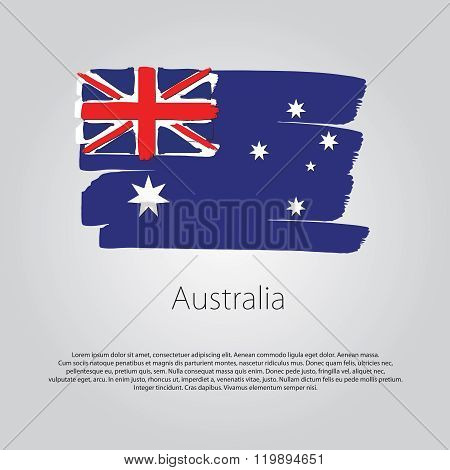 Australia Flag With Colored Hand Drawn Lines In Vector Format