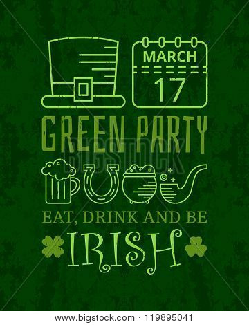 Eat, drink and be irish grunge vintage poster.