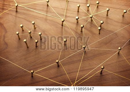 Linking entities. Network, networking, social media, internet communication abstract. A small network connected to a larger network. Web of gold wires on rustic wood. poster