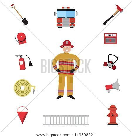 Firefighter vector icon set.
