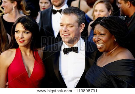 Matt Damon, Luciana Barroso and Whoopi Goldberg at the 88th Annual Academy Awards held at the Hollywood & Highland Center in Hollywood, USA on February 28, 2016.