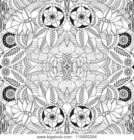 Stock Vector Seamless Doodle Floral Black And White Pattern. Orient.