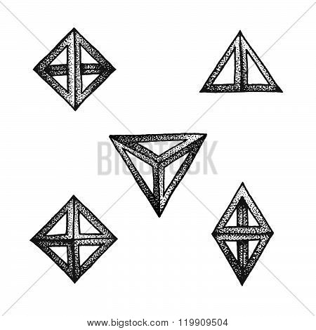 Hand Drawn Dotted Style Polyhedron Illustration Set.