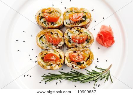 Japan Omelette Rolls With Tomatoes Served With Ginger, Black Sesame And Rosemary