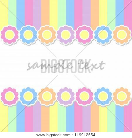 Spring Postcard Background With Two Lines Of  Flowers And Vertical Stripes