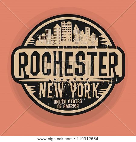 Stamp Or Label With Name Of Rochester, New York