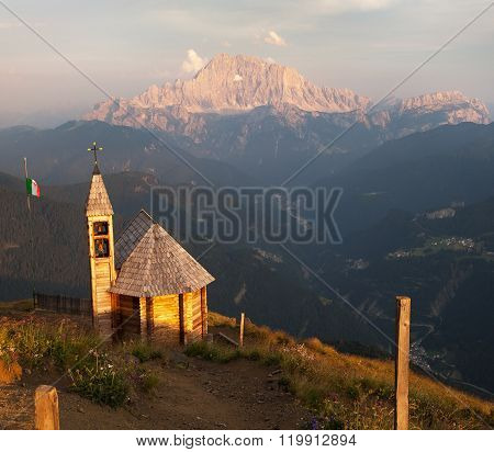 Mount Col Di Lana With Chapel To Mount Civetta