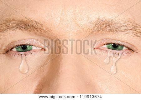 Crying green eyes