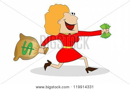 Cheerful Woman Flees With The Money In Hands