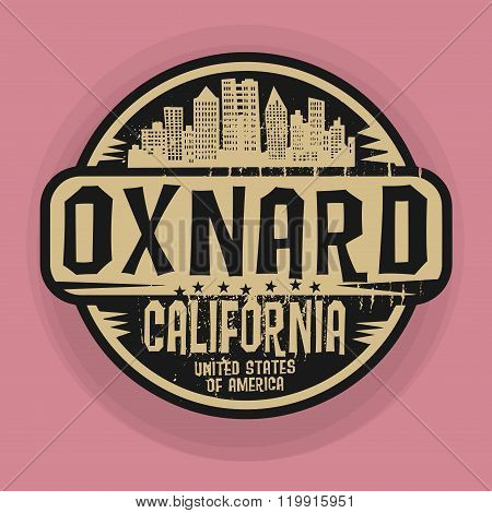 Stamp Or Label With Name Of Oxnard, California