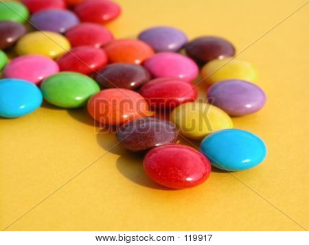 candy on yellow poster