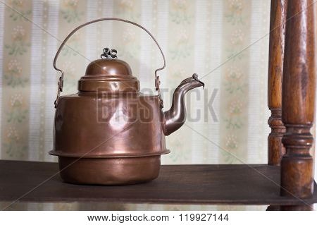 vintage kettle on old bookshelf in the background retro wallpaper