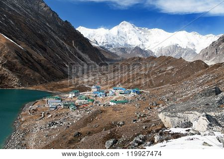 Gokyo Lake And Village With Mount Cho Oyu