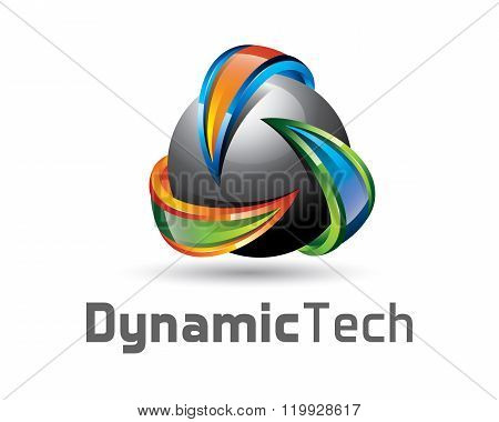 3D Logo Design With Sphere And Arrow. Colorful  3D Cycle Logo Vector Template. Recycle Concept With