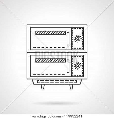 Electric bakery oven thin line design vector icon