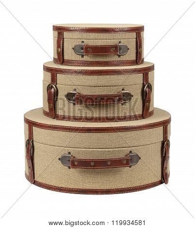 Three Round Deco Burlap Suitcases
