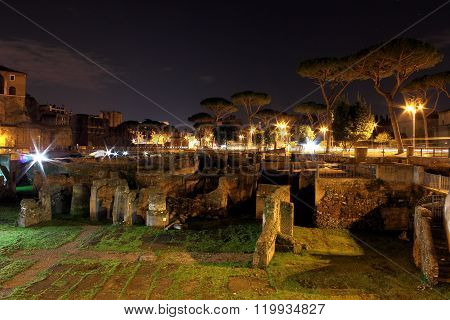 Foro Traiano in Rome, Italy - night scene