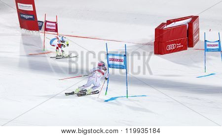 STOCKHOLM SWEDEN - FEB 23 2016: Lindsey Vonn (USA) and competitor skiing at the finish at the FIS Alpine Ski World Cup city event February 23 2016 Stockholm Sweden