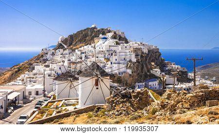 Serifos island, view of Chora village and windmills. Greece, Cyc