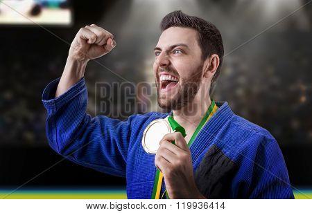 Judoka fighter isolated on white background