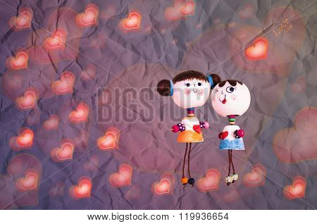 Sweet Love Couple Dool On Heart Pattern Romantic Background