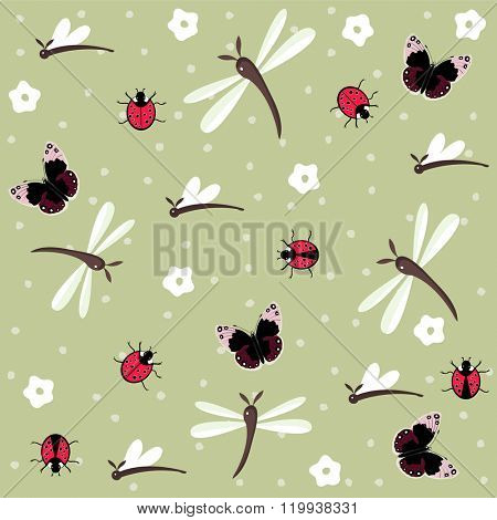 Insects seamless floral pattern