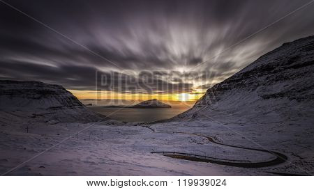 Sunset and Snow, Nordadalur, Faroe islands, Denmark, Europe