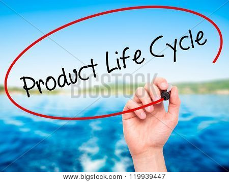 Man Hand Writing Product Life Cycle With Black Marker On Visual Screen.