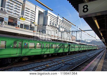 Green Jr Train At Kyoto  Station.