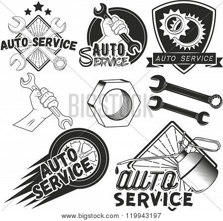 Vector set of auto service labels in vintage style. Car repair shop banners. Mechanic tools isolated