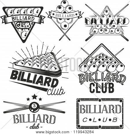 Vector set of billiard labels in vintage style. Sport concept. Billiard cue and balls.